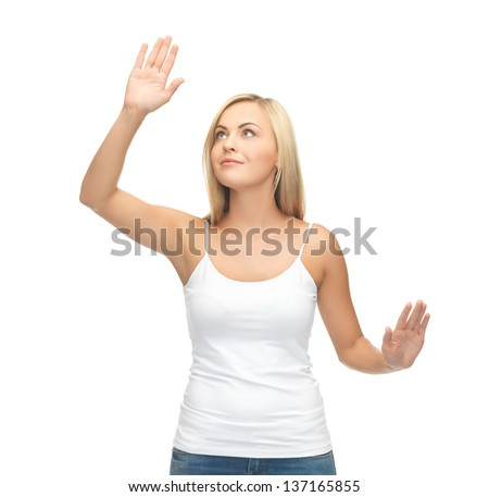 smiling woman in blank white t-shirt with raised hands - stock photo
