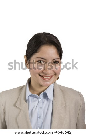 smiling woman in blouse and jacket on a white background