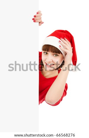 Smiling woman in Santa red hat holding blank sign billboard, isolated on white - stock photo