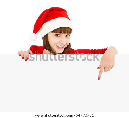 Smiling woman in Santa red hat pointing on blank sign billboard, isolated on white - stock photo