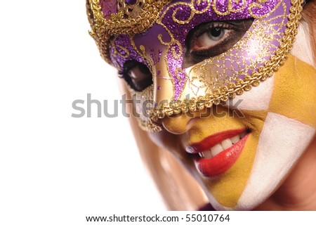 smiling woman in the half mask from Venice. isolated on white. - stock photo