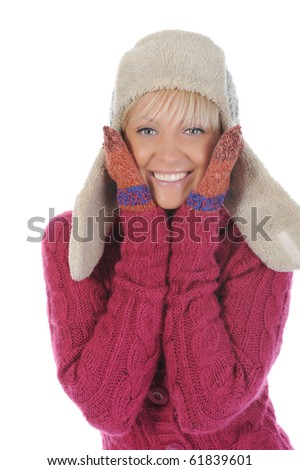 Smiling woman in winter style. Isolated on white - stock photo