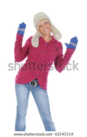 Smiling woman in winter style. Isolated on white background - stock photo