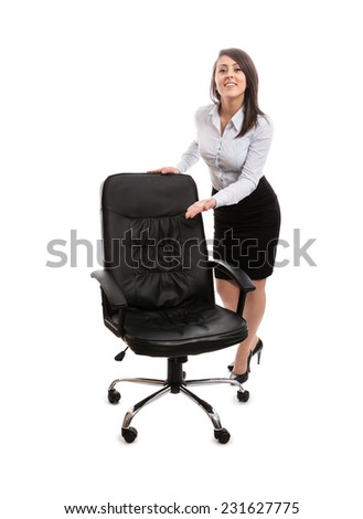Smiling woman inviting to rest - stock photo
