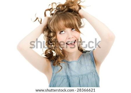 Smiling woman isolated over white - stock photo