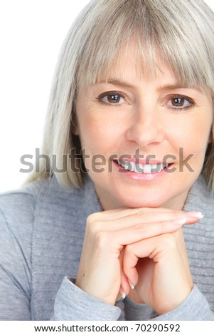 smiling woman. Isolated over white background - stock photo