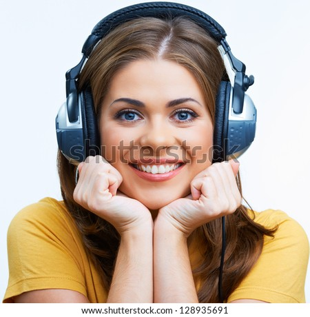 Smiling Woman listen music . Isolated on white . - stock photo