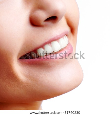 Smiling woman mouth with great teeth - stock photo