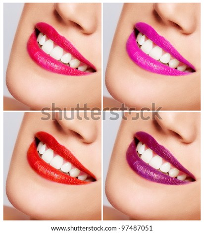 Smiling woman mouth with great teeth. Close up. Color Lips - stock photo