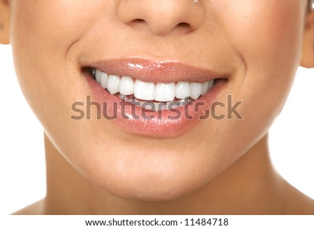 Smiling woman mouth with great teeth. Over white background - stock photo