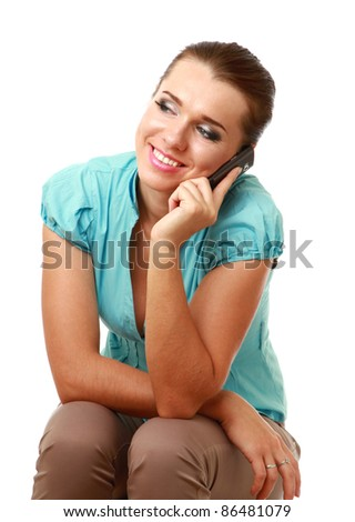 Smiling woman on phone isolated - stock photo