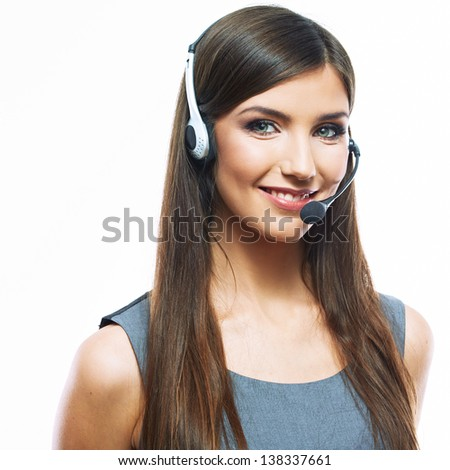 Smiling woman operator isolated on white background. Female business model. - stock photo