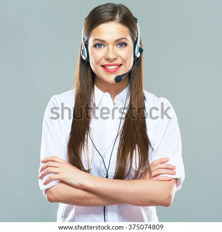 Smiling woman operator of call center support. Isolated portrait of beautiful woman with headset. - stock photo