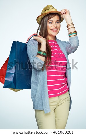 Smiling woman portrait with shopping bag. Isolated portrait.