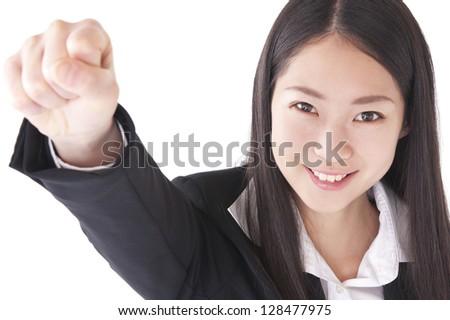 Smiling woman posing guts - stock photo