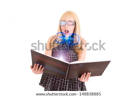 Smiling woman reading a book with 3d glasses concept - stock photo