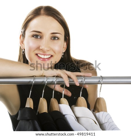 Smiling woman shopping in a store - stock photo