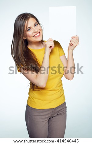 Smiling woman sign board holding. Girl showing banner with copy space. - stock photo