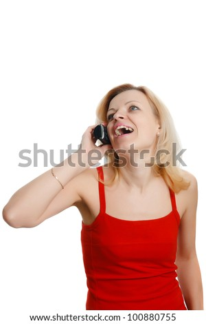 smiling woman talking on the phone isolated on white background - stock photo