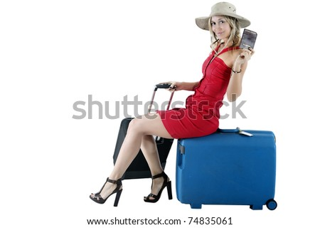 smiling woman traveling with money and passport - stock photo