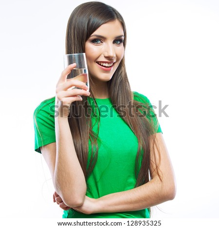 Smiling woman water glass drink. white background isolated . - stock photo
