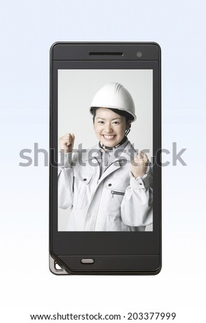 Smiling Woman Wearing The Working Suit