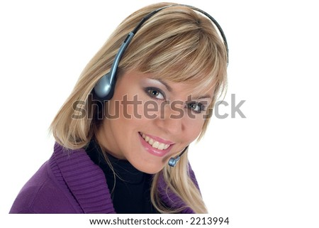 Smiling woman with a headset - stock photo