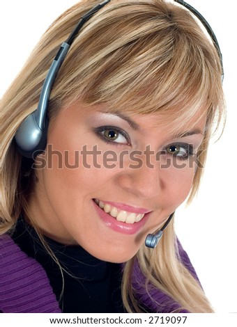 Smiling woman with a headset on white background - stock photo