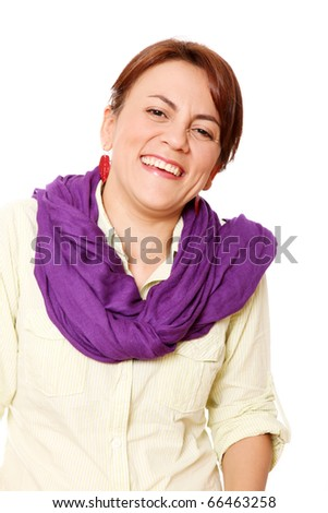 Smiling woman with a laugh looking at the camera