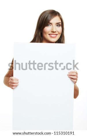 Smiling woman with  big blank board . Close up female face portrait with arms on blank card. - stock photo