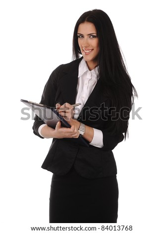 Smiling woman with clipboard - stock photo