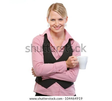 Smiling woman with coffee cup - stock photo