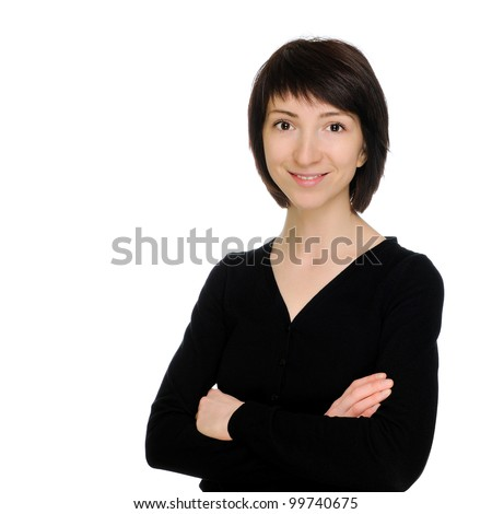 Smiling woman with hands folded, isolated on white background