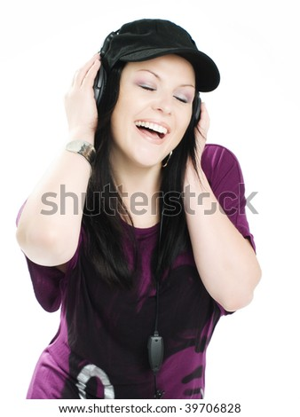 smiling woman with headphones and radio listening music - stock photo