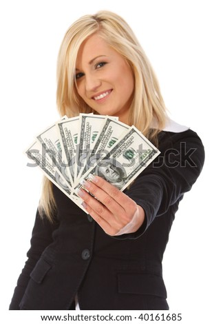 Smiling woman with money on white background - stock photo