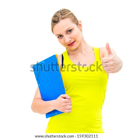 smiling woman with thumbs up gesture and folder on white background