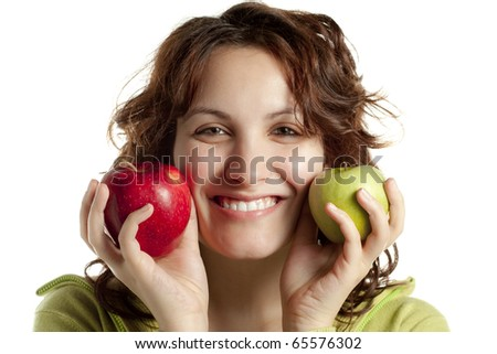 Smiling Woman with Two Apples