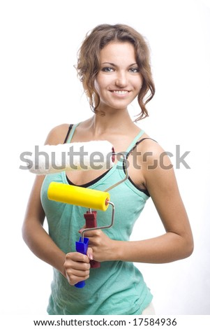 smiling woman with two rolls - stock photo