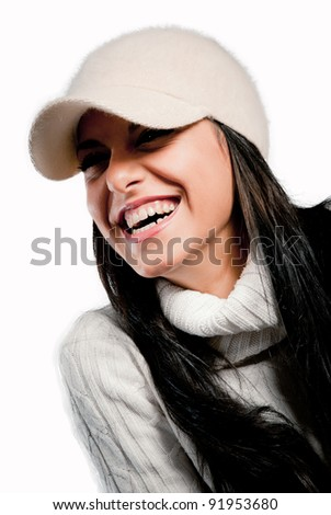 smiling woman with white hat