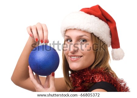 Smiling women holding christmas toy
