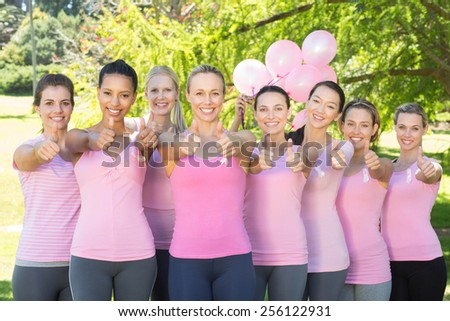 Smiling women in pink for breast cancer awareness on a sunny day - stock photo