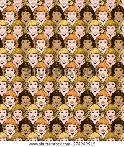 smiling women's faces, with different colorings. - stock photo