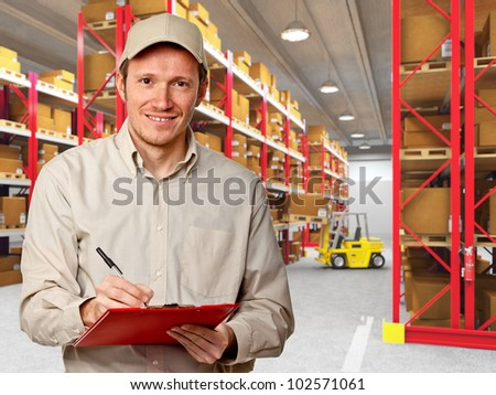 smiling worker in classic warehouse