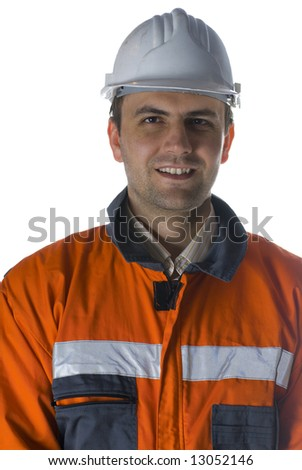 Smiling worker isolated on white portrait stock photo - stock photo