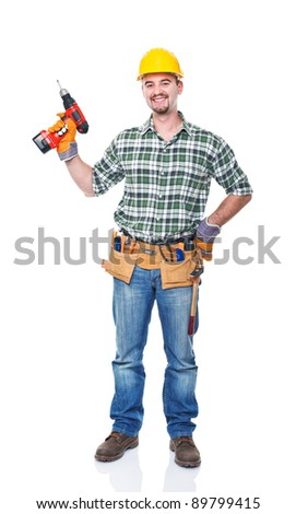 smiling worker with red drill on white background - stock photo