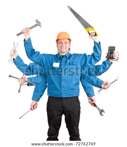 Smiling worker with tools in many hands. Isolated on white - stock photo