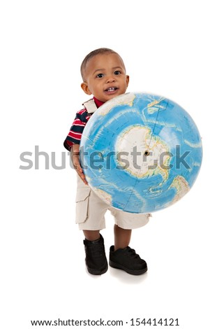 Smiling 1-year old baby boy standing Full Body Length Portrait holding globe on isolated background - stock photo