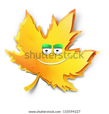 Smiling yellow maple leaf. Paper cut illustration. Isolated on white background
