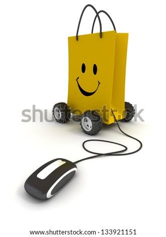 Smiling yellow shopping bag on wheels connected to a computer mouse - stock photo