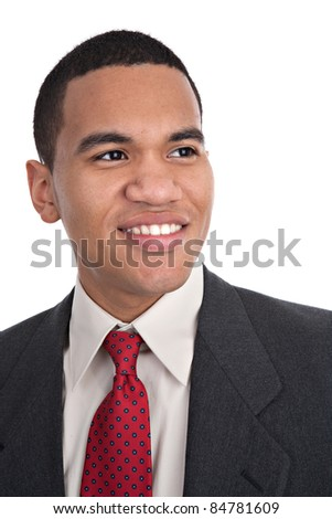 Smiling Young African American Male Portrait on Isolated Background - stock photo